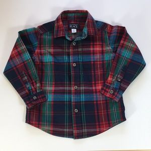 The Children's Place Long Sleeve Plaid Shirt, 3T